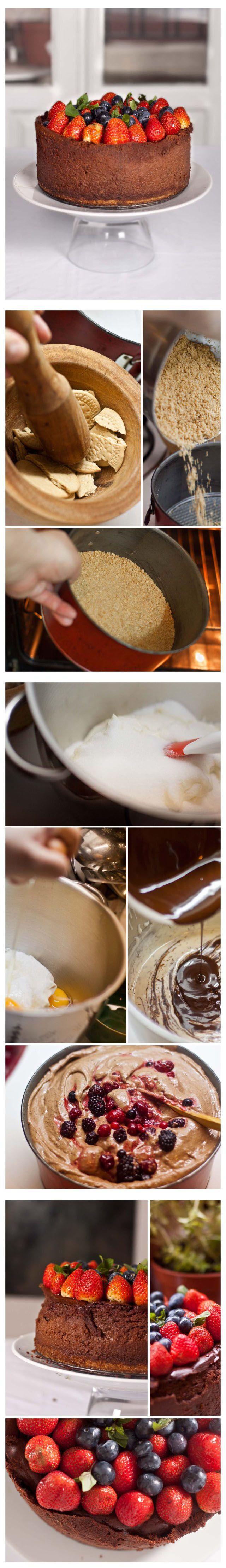 Tarta de queso, chocolate y frutos rojos -instrucciones-