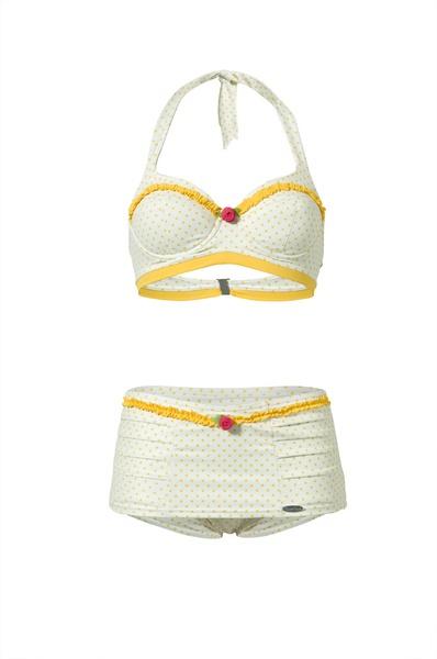 wit-gele bikini met polkadots van MamaMariaSwimwear via DaWanda