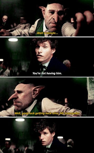 Never negotiate with a goblin who is after your cute little Bowtruckle - Fantastic Beasts and Where to Find Them