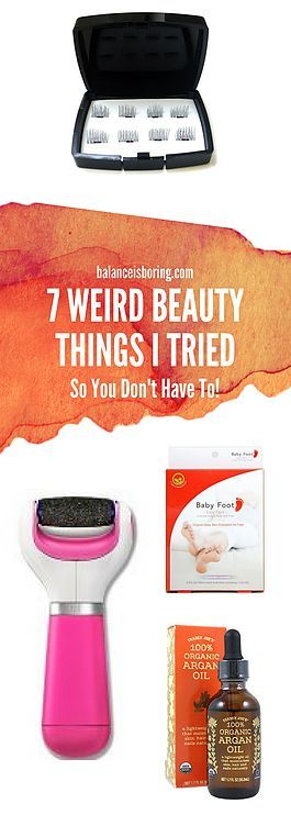 7 Weird Beauty Things I Tried. Reviews of foot mask, pumice, argan oil, and One Two magnetic lash reviews.