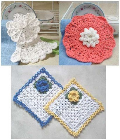 Design by: Cindy Carlson, Mary Ann Sipes and Maggie Weldon Skill Level: Easy Size: Rose Dishcloths: 8″ square; Angel Dishcloth: 9″ wide x 8″ tall; Coral Delight Dishcloth and Scrubby: 9″ across. Mater