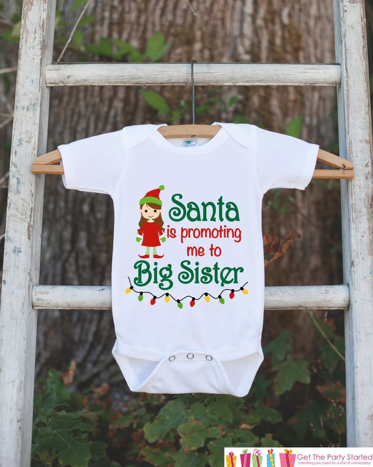 This adorable big sister outfit is the perfect way to announce your pregnancy this holiday season. It is just waiting to be worn by the little one in your life! Our graphics are professionally printed