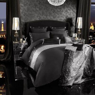 Kylie Minogue at home Black sparkle bed linen- | Debenhams