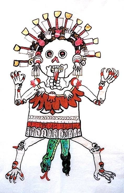 Art by Lydia Ruyle. -Tzitzimine is birthing Ixchel as a green serpent. From the ancient mother ancestors, new life is born. Tzitzmitl are ancestor spirits, usually feminine. They are depicted as skeletons and honored on La Dias de Los Muertos, Day of the Dead, November 1. Diving from the sky as star demons, tzitzimitl are connected to spiders, weavers of the web of life.