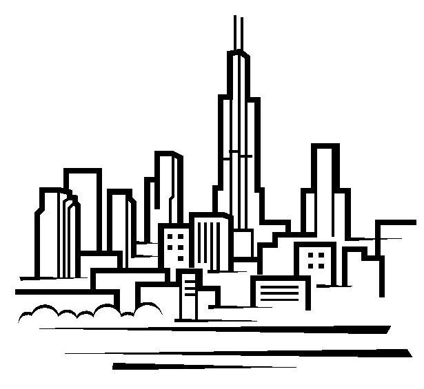 Chicago Skyline Coloring Pages Skyline Drawing