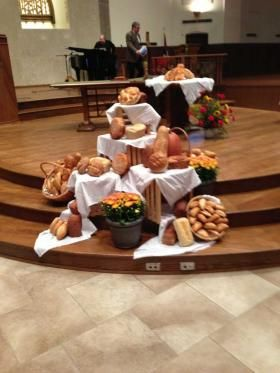 Displays at last year's World Communion Sunday at First Christian Church, 3001 Wolflin Ave., included a bread display.  Provided Art