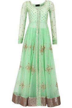 Mint green sequin embellished jacket with lehenga.