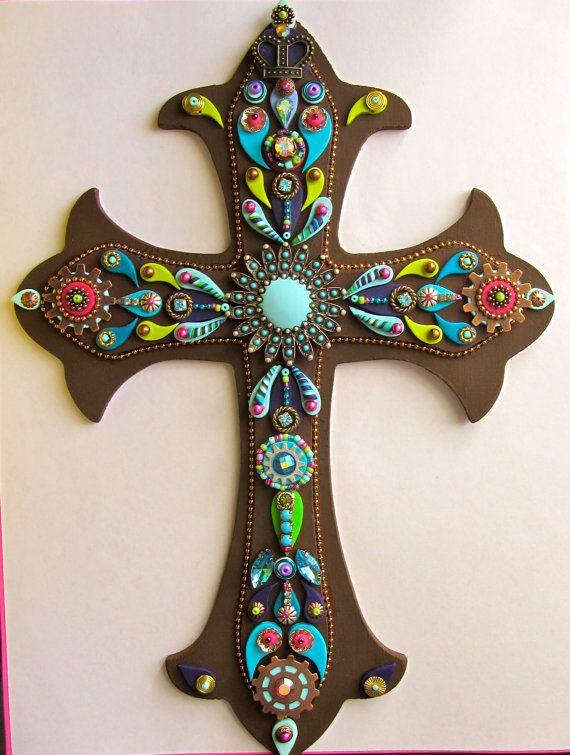 Wall Cross Embellished Jeweled brown and blue with touch of pink OOAK Vintage Inspired Religious Wall Decor Wall Art Cross