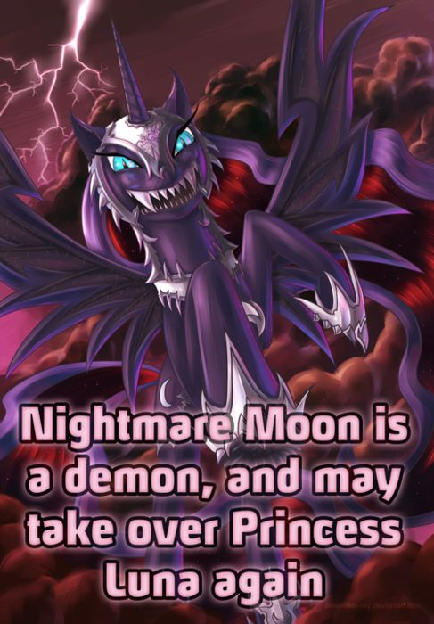 MLP Headcanons PERSONAL HEADCANNON TIME! (This became a headcannon for me because of the fanfiction Solar Child and its sequel, Solar Child: Burden of the Crown on FIMfiction.net, a MLP fanfiction website, just wanted to throw that out there.) All alicorns have a inner demon inside of them, Luna has Nightmare Moon and Celestia has Solar Flare. Cadence has one too, but it involves spoilers...