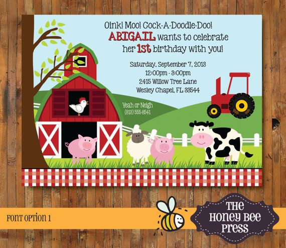 Oink, Moo, Cock-A-Doodle-Doo Barnyard Birthday Invitation - Farm Birthday Invitation - First Birthday Farm Invitation, customize to any age by The Honey Bee Press