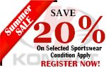 It's SUMMER SALE... save up to 20% on selected sportswear !! REGISTER NOW, or visit our website http://kombat.com.au/ for more information !! OFFER CLOSES: END OF AUGUST :)
