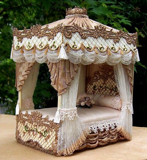 """This is one of Ruth Bradley's latest dollhouse canopy beds. """"Elizabeth"""" is fit for the queen of your dollhouse... It is one of many that you will find on her website.."""