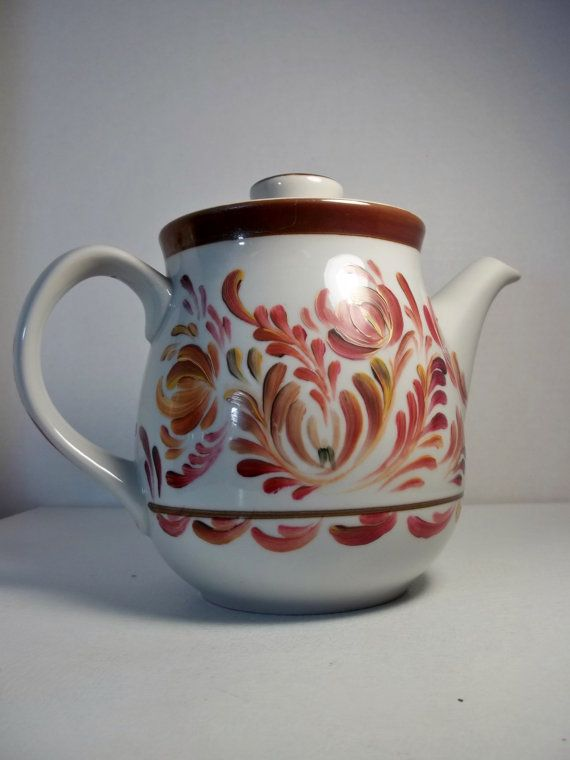 Stoneware Tea Pot Hand Painted Rosemaled Folk by FolkArtByNancy
