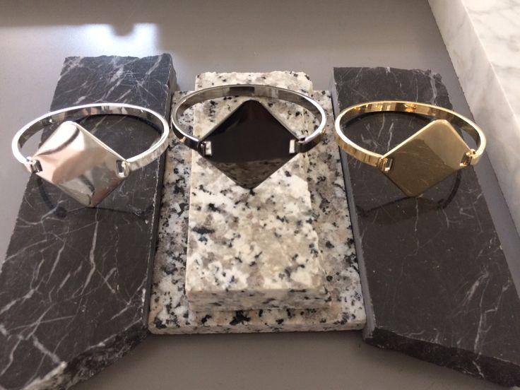 A Y M Silver, Dark Ruthenium & Gold Bracelets