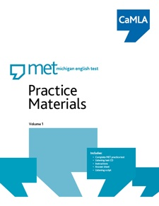 MET Practice Materials, Volume 1 contains a full version of the MET test and includes: a CD of the listening section, instructions on how to take and score the practice test, how to interpret the results, an answer sheet, a script of the listening section