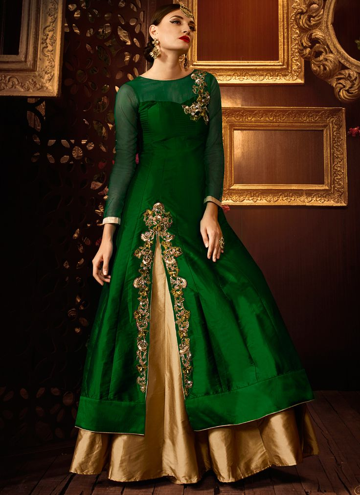 Buy Green color taffeta silk party wear lehenga at kollybollyethnics with free worldwide shipping.