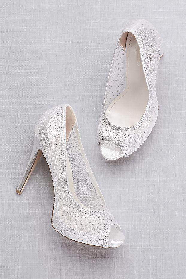 2d9fc96af9b Sheer Mesh Peep-Toe Platform Heels with Crystals