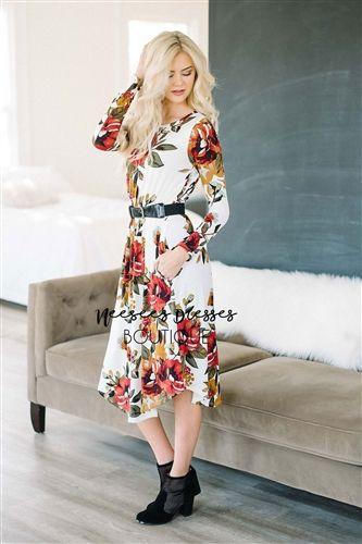 VANILLA RED & MINT FLORAL DRESS Cute Modest Dress