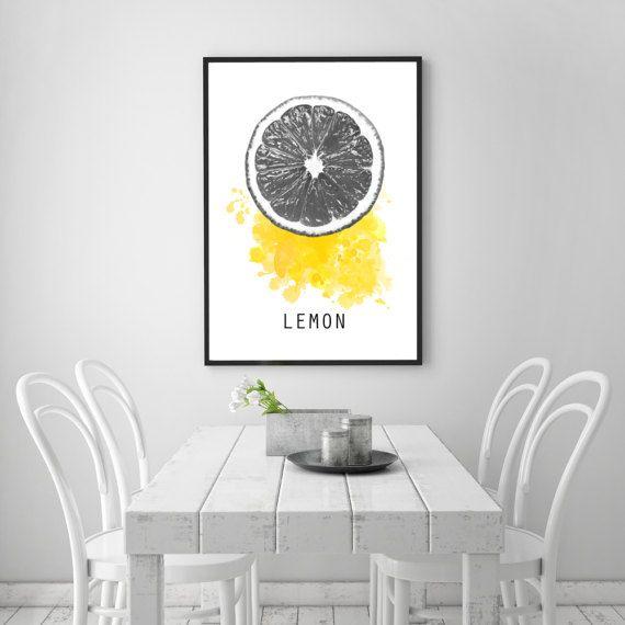 Lemon poster, Kitchen print, Lemon print, Kitchen decoration, Minimal design, Home minimal art, PRINTABLE poster, Fresh fruit poster art