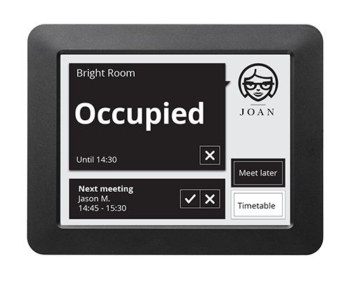 Display your meeting room reservations and book rooms on the spot. Joan connects to your Wi-Fi and calendar. No cables. Attaches to any surface. Even glass.