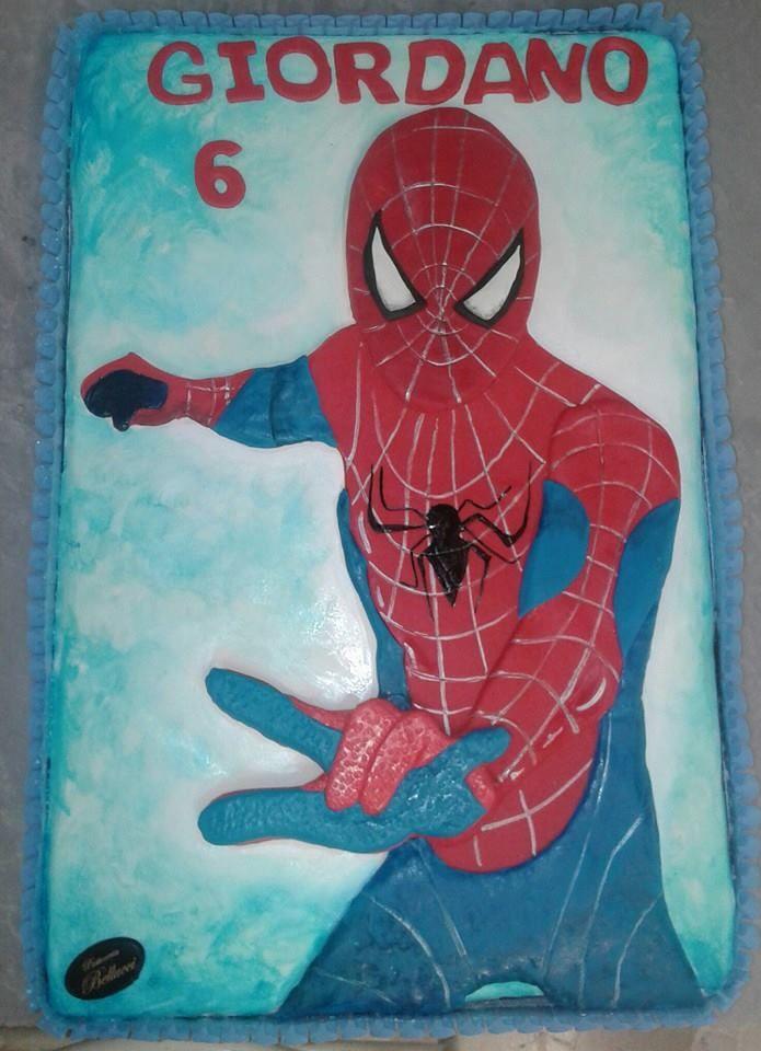 Torta di Compleanno decorata cake design Siderman L'Uomo Ragno Pasticceria Bellucci a Firenze