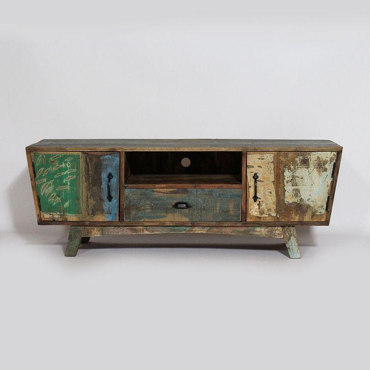 meuble tv ethnik en bois recycl avec effet vieilli design - Meuble Tv Made In Design
