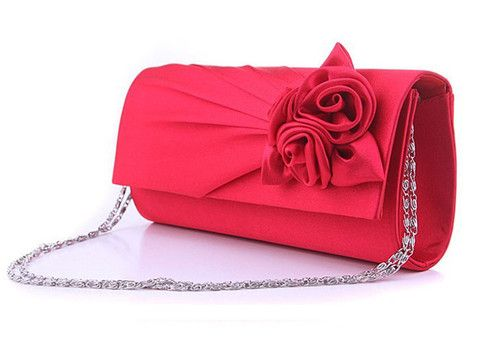 Soft Satin Flower Decorated Medium with Chain Day Clutches | Stylish Beth