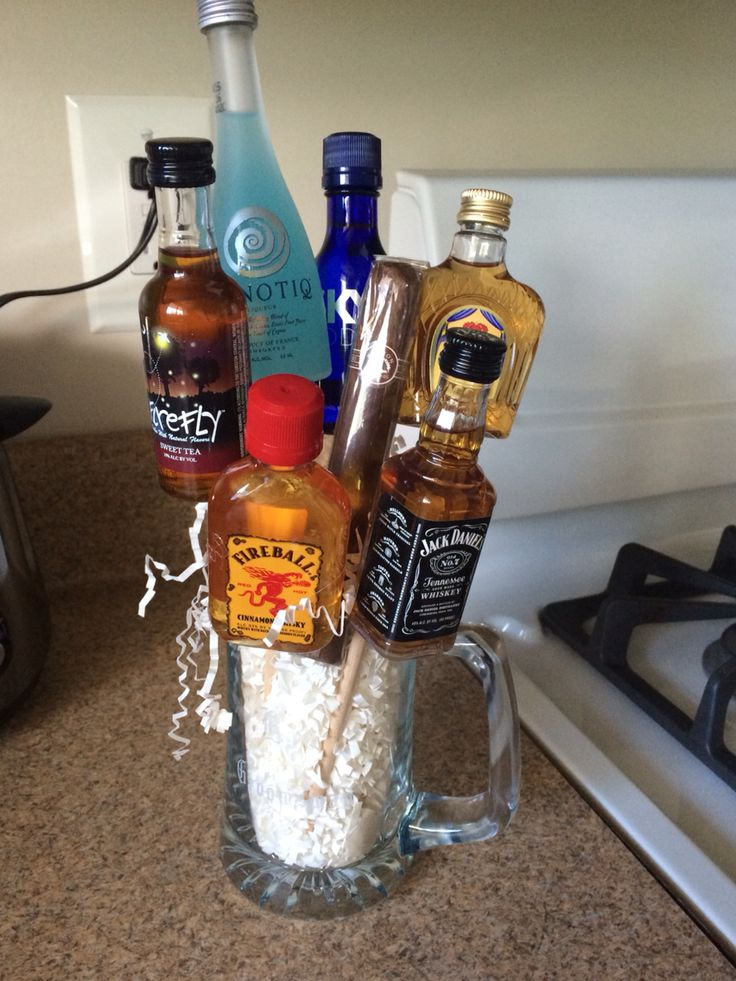 Groomsmen gift. Mini alcohol bouquets in a personalized beer mug.