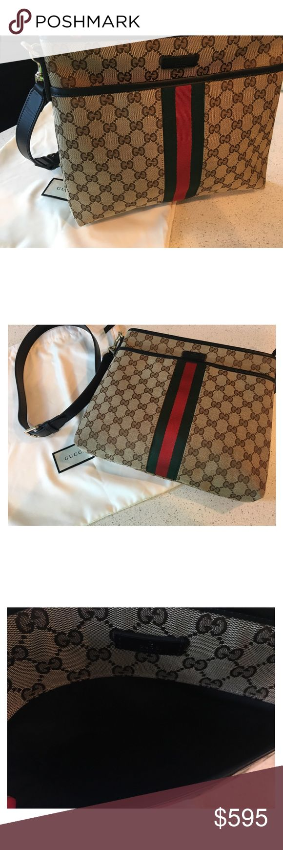 Gucci Web Canvas Cross Body Bag Super cute! But was a gift that I've never used. NEW WITHOUT TAGS. Gucci Bags