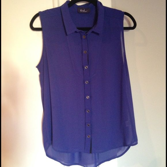 Wish Boutique Blue Button Down Blouse Wish Boutique blue button-down flowy top with gold hardware. Chic, fun and versatile piece! Tag in short does not display shirt size but this is a M/L sized flowy top. Wish Tops Blouses
