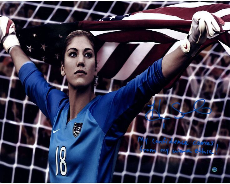 Hope Solo Signed Standing in Net 16x20 Photo w/ 'My Confidence Comes From My Work Ethic' Insc.