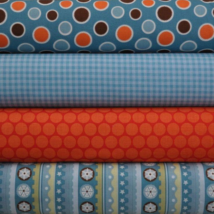 Mod Tod Orange 4 Fat Quarters Bundle by Sherri Berry Designs for Riley Blake,  #RileyBlake
