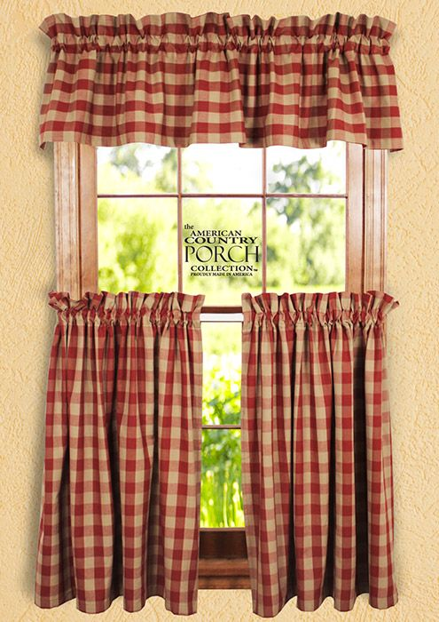 Wine Tea Dyed Buffalo Check Curtain Collection Primitive