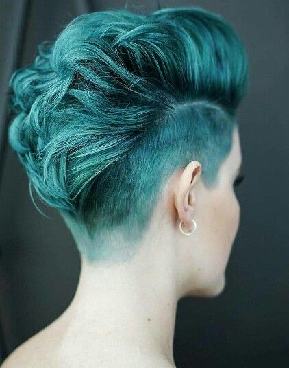 Blue short hair with undercut                                                                                                                                                      More