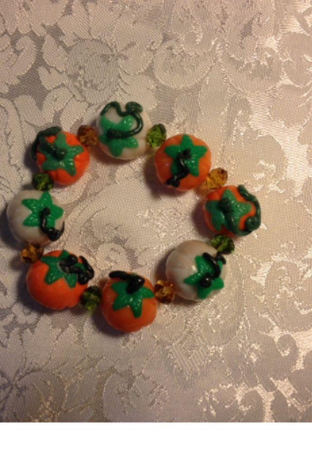 Bracciale zucche halloween fatto a mano in fimo