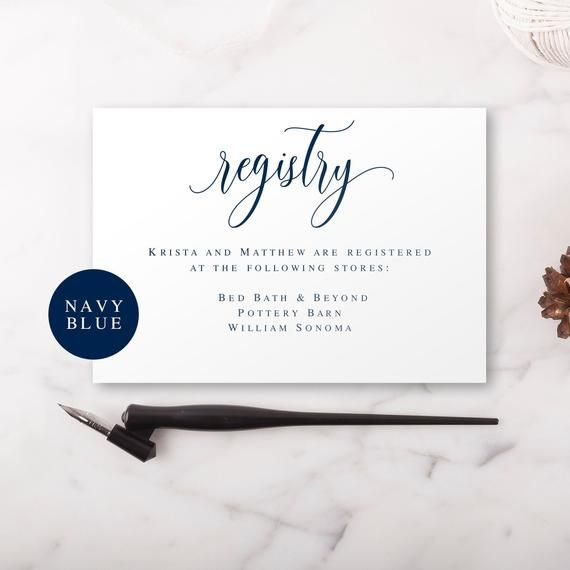 Gift Registry Card Template Wedding Enclosure Card Template Registry Card Inserts Navy Blue Wedding Card Navy Wedding Invite Insert Vm13