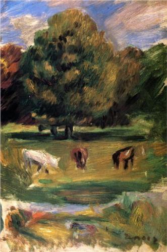 Landscape with Horses - Pierre-Auguste Renoir