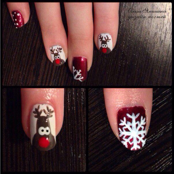 """Рудольф"" #ногти #маникюр #рисунок #олени #олень #снежинки #снежинка #снег #зима #nail #nails #nailart #art #naildesign #design #nailstyle #style #deer #snowflake #snow #winter"