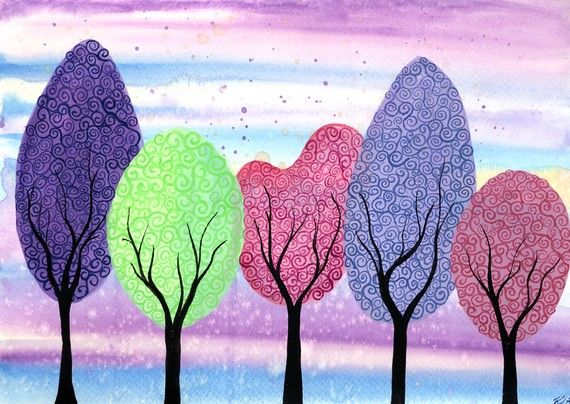 Spring Trees - Original watercolor painting