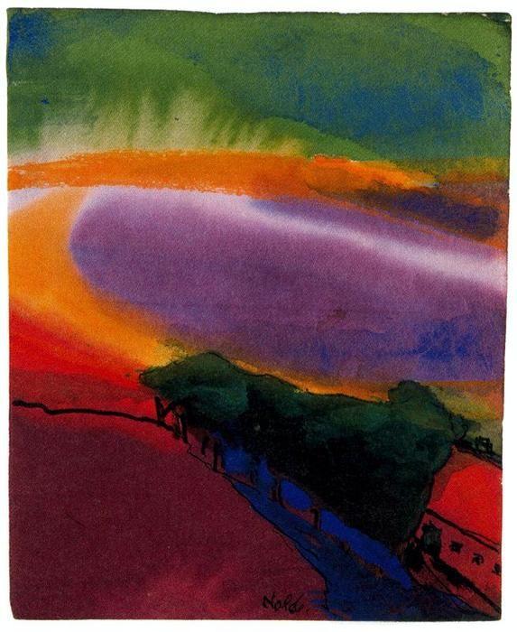 Paysage (rouge-jaune-vert) de Emile Nolde (1867-1956, Germany)