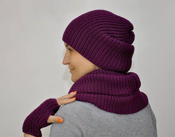 Purple set hat scarf mittens wool knit warm beanie hat purple