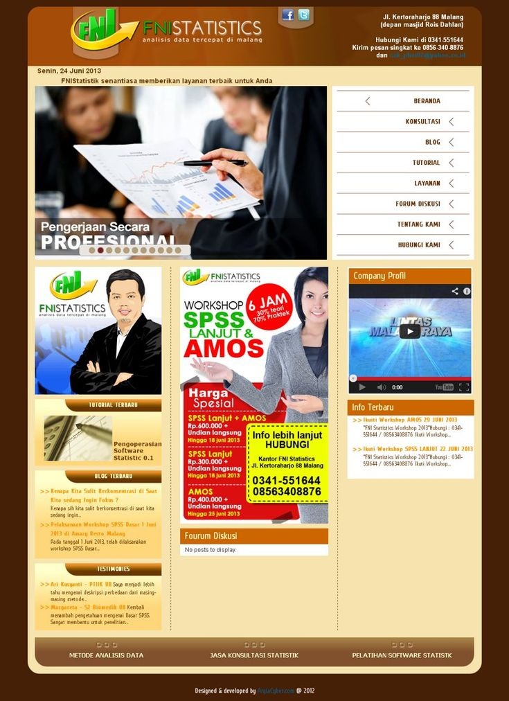 #Portofolio #Companyprofile Web milik FNI Statistics Kota Malang ini merupakan web company profile yang dibangun dengan menggunakan Joomla 2.5.