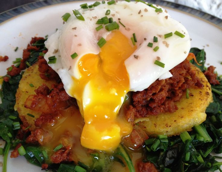 Poached Egg Over Seared Polenta, Veggie Sausage, & Sauteed Baby Greens