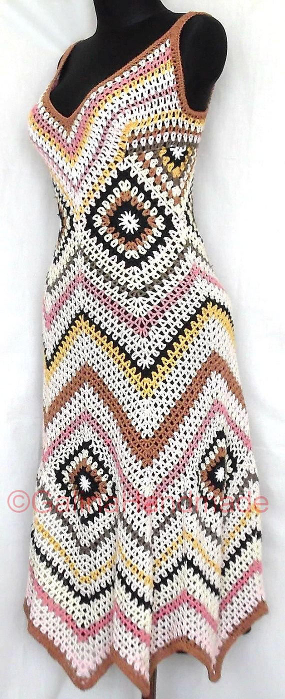 Dress Missoni Style Croshet Multicolor by GalinaHandmade on Etsy, $180.00