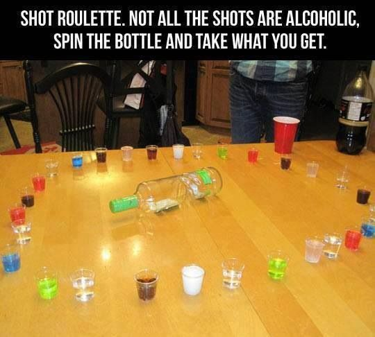 Ok so doing this for my kids BUT instead of alcohol ill use all different kid drinks and make some strange by adding two drinks in a shot (example soda and Gatorade) instead of alcohol and they have to drink it even if they get a strange kid shot. NO Alcohol if using this idea for kids!!!!