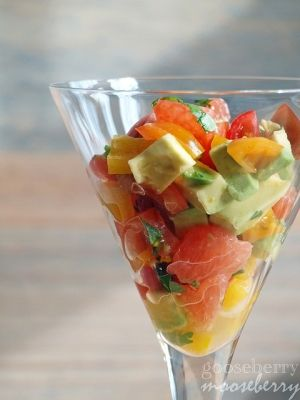 Grapefruit, Mango, and Avocado Salsa. Great as a topping for chicken or fish, or eat as a salad (eat as is or place on some greens).