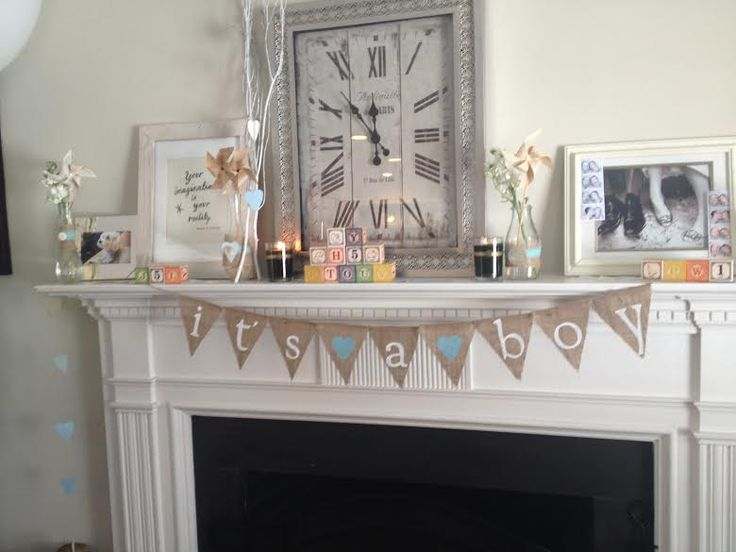 Shabby chic #babyshower for a boy - love the way this mantel is styled!Shower Ideas, Lindsey Shower, Chic Babyshower, Shower Mantels, Baby Boy, Baby Shower Baby