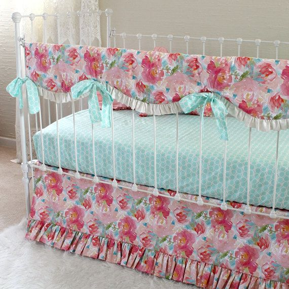 Pink and Aqua Pastels and Peonies Baby Girl Bedding Set with Bumperless Rail Cover, Sheet, and Flounce Skirt for a Unique, Baby nursery