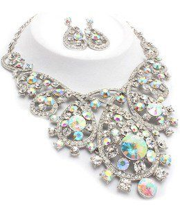 Aurora Borealis Clear Silver Bib Necklace Set Elegant Crystal Costume Jewelry