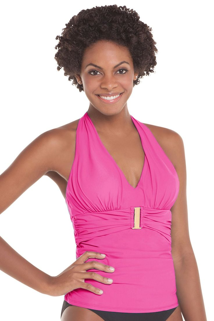 This is the best Spanx model ever! Love her!  SPANX Belted Beauty Halter Tankini Top